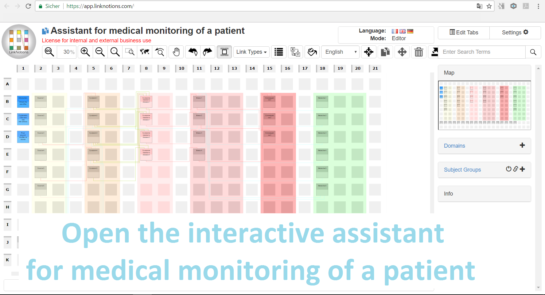 open the interactive diagram as assistant in medical monitoring