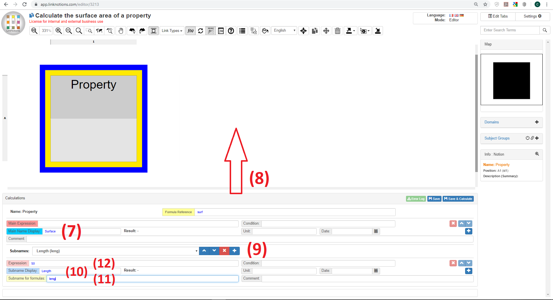 Calculate the surface area of a property with LinkNotions interactive visual spreadsheet
